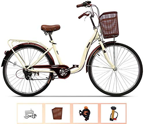 WOF 26 Zoll Damen Fahrrad Aluminium Cruiser Bike 6-Gang-Schaltung V Bremsen Stadt Licht Pendler Retro Damen Erwachsene mit Autokorb