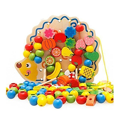 Yingwei VWH 82 Pcs en Bois Fruits Légumes Laçage Ficelant Perles Jouets avec Hérisson Conseil Montessori Jouet Éducatif pour Enfants