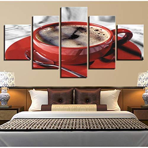 KDSFHLL 5 Panel dekorative Malerei Moderne Leinwand Bilder 5 Stücke Kaffee Tasse Löffel Gemälde Wohnzimmer Decor Restaurant Wand Kunstdrucke Art
