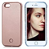 FULLOPTO Iphone 6 6s Plus LED Light Case, Selfie Led Phone Case with Led Illuminated Rechargeable Light for 6/6s Plus (Rose Gold)