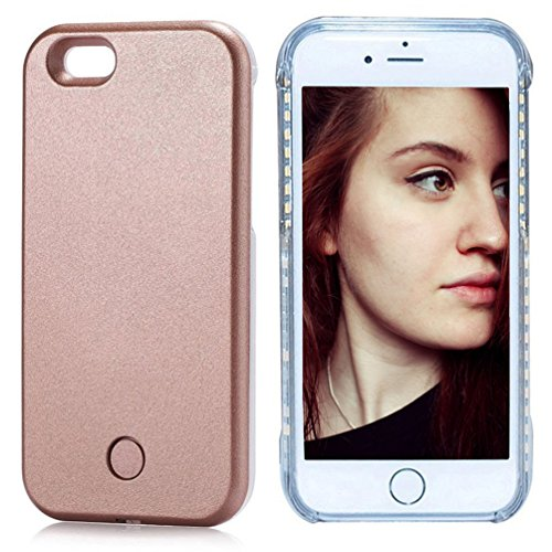 FULLOPTO iPhone 5 5s LED Light Case, Selfie LED Phone Case with Rechargeable Illuminated Light Light (Rose Gold)