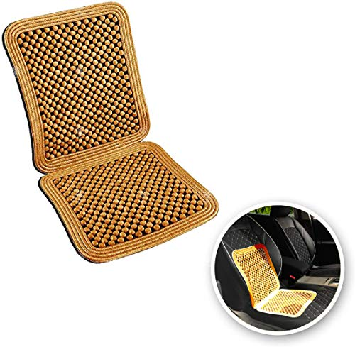 VaygWay Wood Beaded Seat Cushion – Wooden Beaded Car Seat Cover – Natural Wood Double Strung Beads – Massage Comfort Cover Car Seat – Universal SUV Auto Office Home