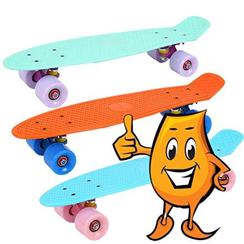 SHSH Kinder-Skateboard, komplettes Skateboard, Doppel-Kick-Trickboard für Erwachsene, Kinder und Jugendliche, Doppel-Skateboard-Design für Outdoor-Skateboard, blau