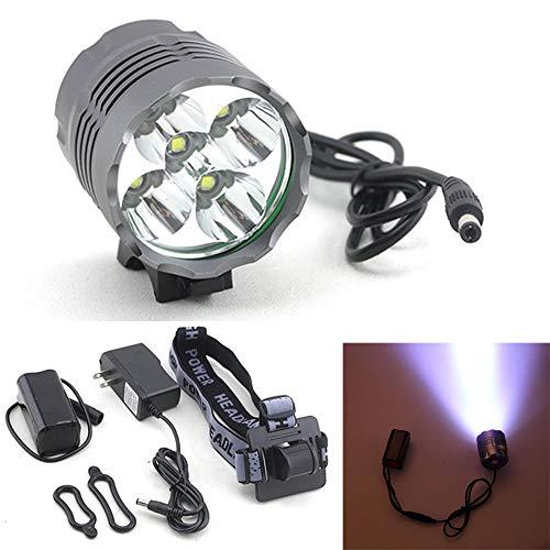 TINGTING529 TING529 Fahrradlampe Scheinwerfer,Fahrradlicht Frontlichter,Fahrrad licht Front Lichter vorne licht mit 1 LED-Leuchte,2 Gummiring, 1 Kopfbügel,1 Akku, 1 WechselstromLadegerät(Schwarz)