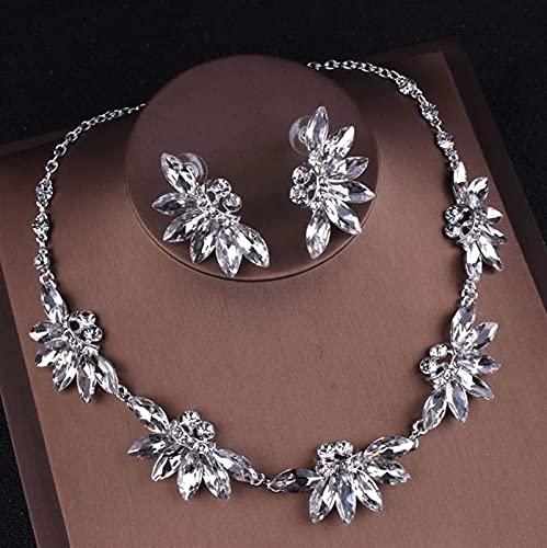 Conjuntos de joyas nupciales de cristal púrpura Collares Pendientes Conjunto de tiaras de corona Conjunto de joyas de cuentas africanas Accesorios para vestidos de novia (color de metal: 2 piez