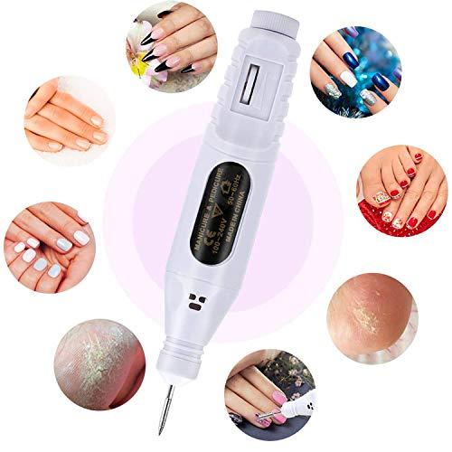 Fresa Unghie Elettrica,USB Trapano Elettrico per Unghie Kit Nail Drill Portatile per Ricostruzione Unghie Manicure e Pedicure,fresa elettrica di chiodo con 6 Accessori