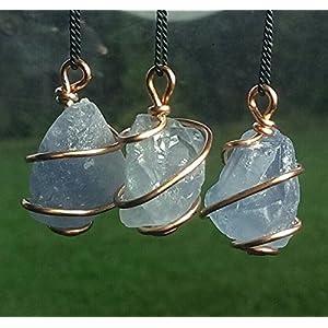 Celestite Wire Wrapped Copper Necklace