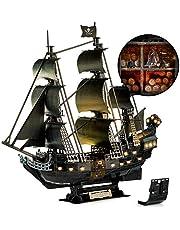 CubicFun LED 3D Puzzels UPGRADE Koningin Anne's Revenge Piraat Schip Model Kits voor Volwassenen om te bouwen, Onmogelijk Black Pearl Ship Jigsaw Puzzels voor Volwassenen -293 Stuks