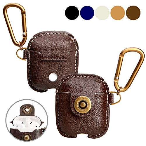 A+case case Leather Cover Compatible for air pods Accessories with Hook Keychain & Earbuds Strap Shock Resistant Full Protective case for Wireless Earbuds Charging case(Dark Brown)