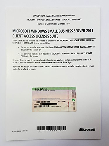 Microsoft Windows Small Business Server 2011 Standard 5 CAL Licence - SBS 2011 Standard - OEM