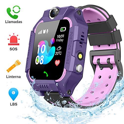 BANLVS Smartwatch Niños, 2019 Nuevo Reloj Inteligente Niños con Flashlight, IP67 LBS SOS, Cámara, Smartwatch con Ranura para Tarjeta SIM, Regalo Niño Niña de 3-12 Años Compatible con iOS/Android