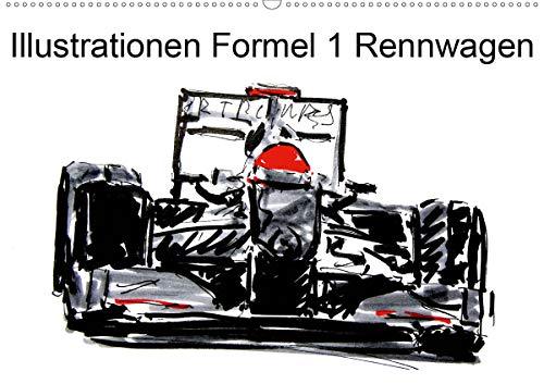 Illustrationen Formel 1 Rennwagen (Wandkalender 2021 DIN A2 quer)