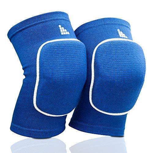 LAUTER SCHUTZ ® Premium Knieschoner aus atmungsaktivem Gewebe mit Kniescheibenpolster für Volleyball, Handball, Tanzen, Mountainbiking & mehr (Blau, M)