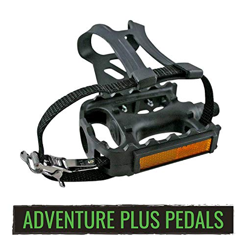 evo Bike Pedals with Straps and Toe Clips - 9/16-Inch Spindle Resin/Alloy Bicycle Pedals
