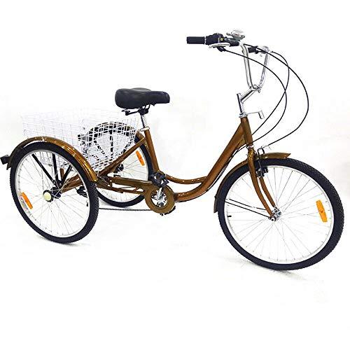 Kaibrite 24' 6 velocità adulto 3 ruote triciclo bicicletta adulto bicicletta pedale bicicletta con cestino