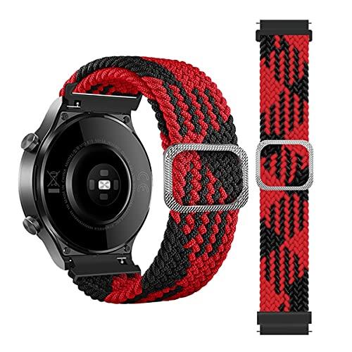 leiai 20mm Nylon Correa Compatible con Galaxy Watch 3 41mm,Correas Reloj,Bandas Correa Repuesto,Reloj Recambio Brazalete Correa Repuesto para Galaxy Watch Active 1 40mm/Active 2 40MM (Negro Rojo)