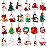 24Stk. Weihnachtsbaumschmuck Weihnachtsanhänger Miniatur Baumschmuck Weihnachten Schneemann Weihnachtsmann Rentier hängend Weihnachtsornamente für Weihnachten Dekoration Adventskalender zum Befüllen
