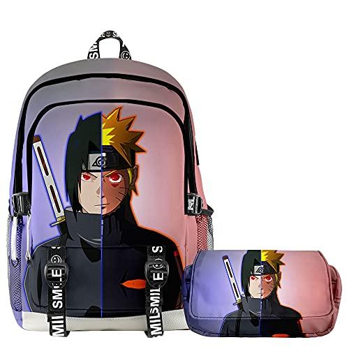 Naruto Uzumaki Naruto Uchiha Sasuke Mochila Infantil Anime Mochila 2 Piezas, 4, 28x17x42cm,