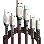 USB C Charge Cable Type C Charger, INIU【3-Pack, 6.6ft+3.3ft+1.6ft】3A Fast Charging Nylon Braided Type C Cable, Reinforced Necks Tangle-Free Phone Data USB C Charger Cord with Organizing Strap for Samsung Galaxy S10E S10 S9 S8 Plus Note 10 9 8 A10e,Huawei,LG,Google, HTC,Motorola etc. …