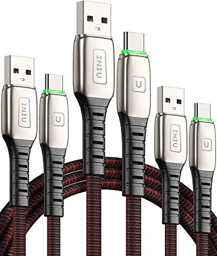 INIU USB C Kabel, 【3 Stück 0.5m + 1 m + 2 m】 3A Typ C Schnellladekabel QC, Datenkabel mit geflochtenem Nylon für Samsung Galaxy S10 S9 S8 Huawei 10 9 Huawei Google Pixel OnePlus LG