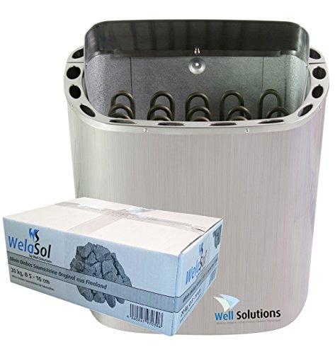 Well Solutions Premium Sauna Ofen Scandia 8kW aus Edelstahl, inkl. Saunasteine