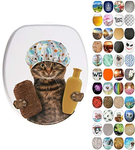 WC Sitz mit Absenkautomatik, viele neue WC-Sitze zur Auswahl, hochwertige Oberfläche, einfache Montage, stabile Scharniere (Shower Cat)