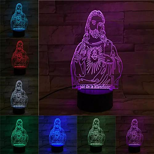 Jesús Lampada Illusione Luce Visiva Tocco Colorato Luce Notturna 3D 3D Luce Notturna Stereoscopica A Led Luce Notturna Stereo 3D