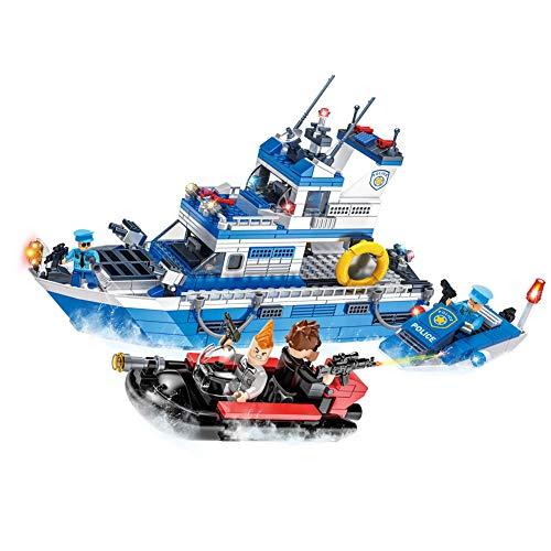 YeoMark Marine Police Guardia costiera Building Set Barche Sea Chase Costruzione Giocattoli, Compatibile con Lego e Playmobil [540pcs]