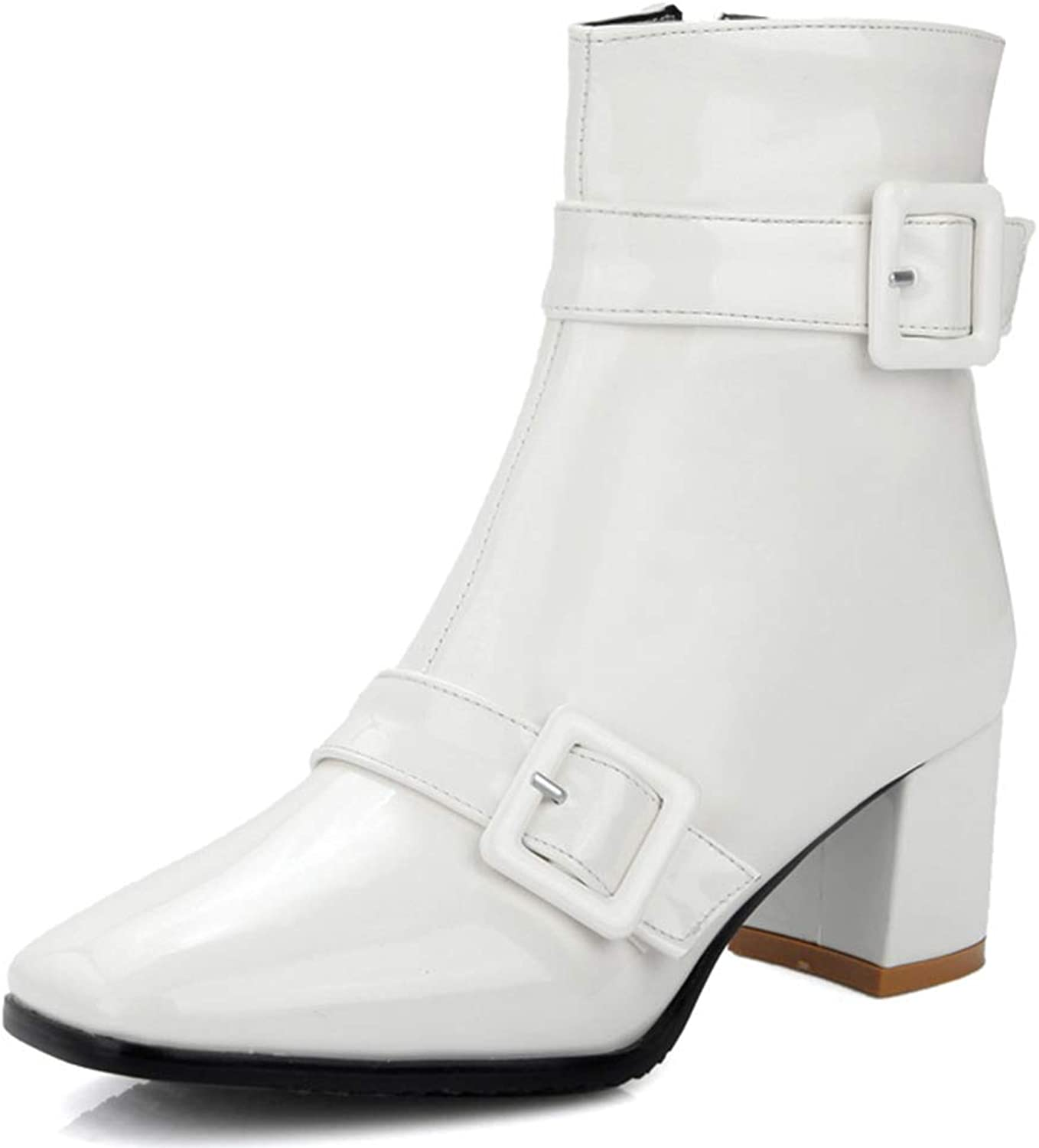 KingRover Women's European Style Buckle Chunky Heel Classic Ankle Boots