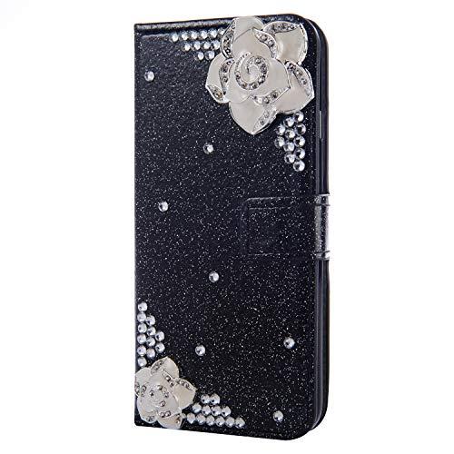Flip Ledertasche Diamond für iPhone XS Max,Magnet Sparkle Billig Glitter Glitzer Musterg Soft Slim Retro Bookstyle Stand Funktion Karteneinschub Wallet Hülle Schutzhülle