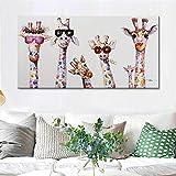 Neugierige Giraffen Familie Leinwand Druck Poster Kinder