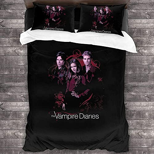 YOMOCO The Vampire Diaries Damon Salvatore - Juego de ropa de cama (3 piezas, 4,220 x 240 cm + 80 x 80 cm)