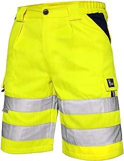 Norwich Pantalones Cortos de Trabajo, Shorts de Alta Visibilidad, Color de señal, Shorts Pantalones de Alta Visibilidad, con Rayas Reflectantes, EN ISO 20471, 280 g/m2