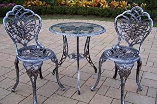 Oakland Living Butterfly Cast Aluminum 24-Inch Glass Top Table with 3-Piece Bistro Set, Antique Pewter