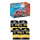 Playmobil Lot Camion de Pompiers avec échelle pivotante - 9463 + Pile Bouton alcaline Duracell spéciale LR44, 8 Piles