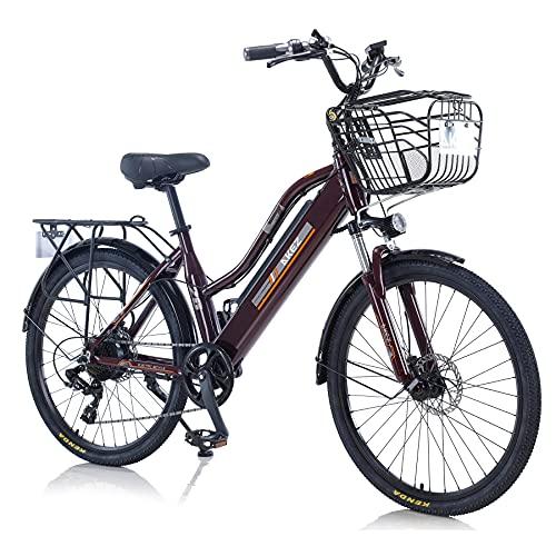 TAOCI E-Bike für Damen, für jedes Gelände, 26 Zoll, 36 V, 250/350 W, Shimano, 7 Gänge, abnehmbarer Lithium-Ionen-Akku, Mountain-Bike für Outdoor, Radfahren, Reisen, Workout (braun, 350)