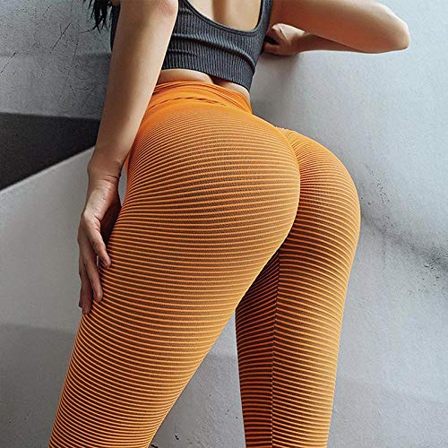 Nahtlose Gestreifte Leggings Mit Hoher Taille Für Frauen Sexy Workout-Leggings Für Fitness-Leggins Legins Frauen Push Up Legging S Orange