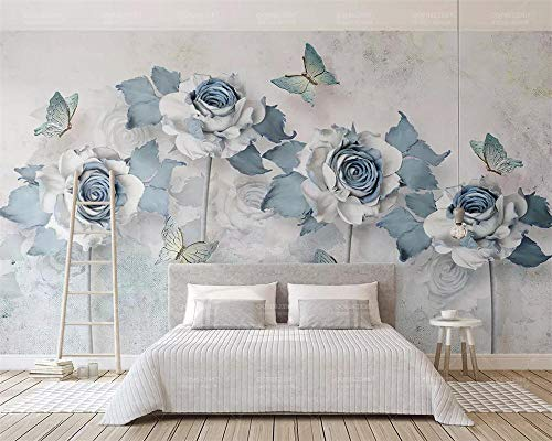 Personalizado moderno 3d estéreo elegante flores mariposa azul claro TV fondo papel tapiz papel peint 300 * 210cm