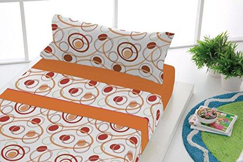 SABANALIA - Juego de sábanas Estampadas Dance (Disponible en Varias tamaños y Colores) - Cama 105, Naranja