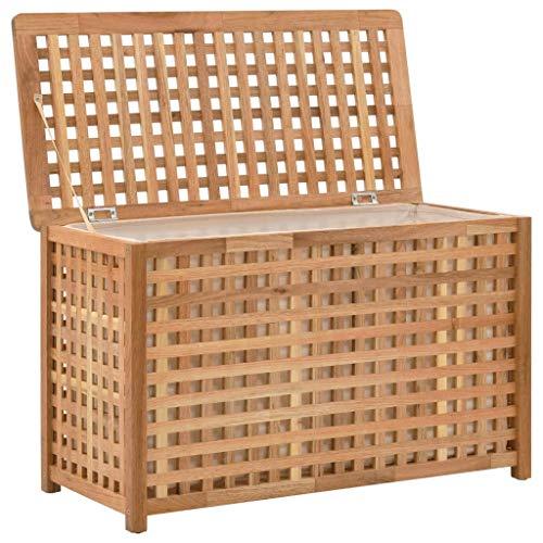 Tidyard Wäschetruhe Wäschebox Wäschekorb Massivholz und Sperrholz Wäschesammler mit luftdurchlässigem Deckel und herausnehmbaren Wäschesack für Handtücher, Wäsche, Natur