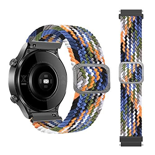 Rosok Correa de Repuesto Elástica Compatible con Samsung Galaxy Active 2 40mm 44mm/Active 40mm, Moda Transpirable, Correa de Tejer de Nylon para Galaxy Watch 3 41mm /Watch 42mm - Color Vaquero