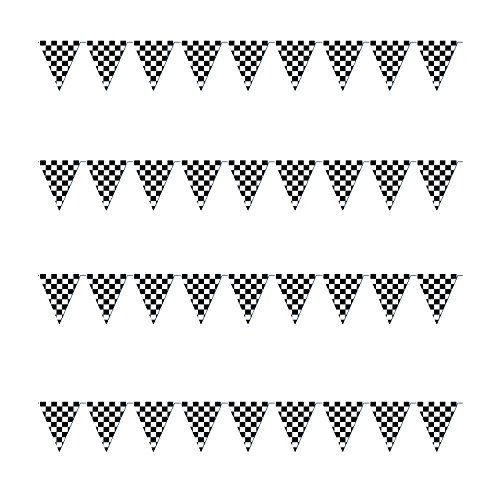 Checkered Flags Black and White 100' FT Pennant Racing Banner | NASCAR Theme Party Decoration Plastic Flag | Race Car Parties Décor | Decorative Birthday BBQ Bar Hanging Accessories | 1 Banner