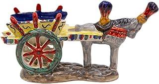 Carretto Siciliano In Ceramica Con Cavallo Grigio 16 cm