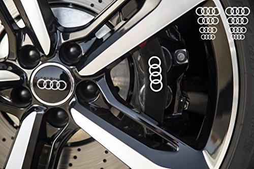 snstyling.com Aufkleber passend für Audi Ringe Bremssattel Felgen Spiegel Fenster Aufkleber 8 Stück 30mm – 17mm (Weiss)