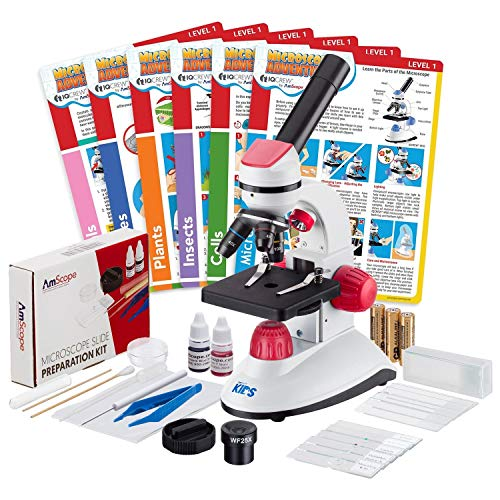 IQCrew by AmScope 40X-1000X Dual Illumination Microscope (Red) with Slide Prep Kit and Experiment Cards