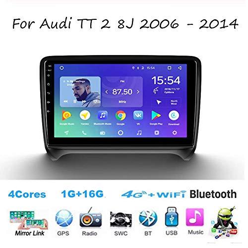 Autoradio Doppel-DIN-Autoradio für Audi TT 8J 2 2006-2014 GPS Navigation Head Unit 9 Zoll-Digital-Multimedia-Player Videoempfänger Carplay DSP RDS
