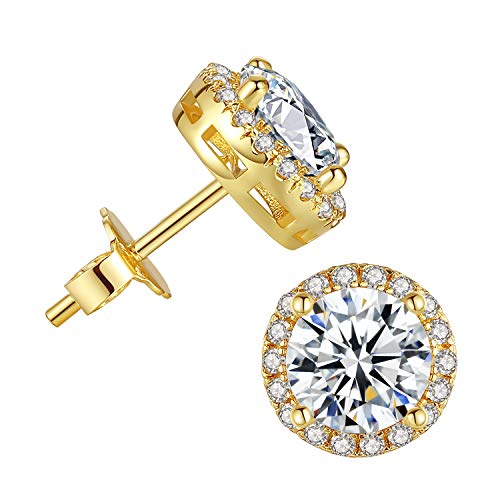 Cubic Zirconia Stud Earrings for Women - 18k Gold Plated Halo Hypoallergenic Earrings, Round Cut CZ Stud Earrings for Jewelry Gift
