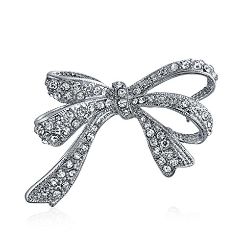 Bling Jewelry Arco Nuziale Nastro CZ Cubic Zirconia Nuziale Matrimonio Spilla Pin Donne Il Tono Dell'Argento Rodio in Ottone Nichelato