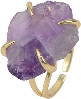 ZENGORI Irregular Genuine Stone Adjustable Ring for Women Gemstones Jewelry