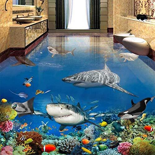 Shuangklei Benutzerdefinierte Pvc Wasserdicht Boden Wandbild Tapete 3D U-Boot Hai Tiere 3D Stereo Bodenbelag Badezimmer Aufkleber-200x140cm